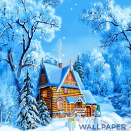 Winter Wooden House Live Wallpaper - a cool phone background.