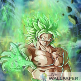 Broly Ultra Green Live Wallpaper - a cool phone background.