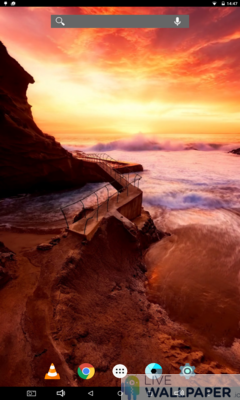 Red Sky above Ocean Wallpaper - a cool phone wallpaper for Android - Screenshot #3